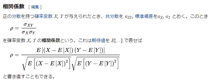 相関係数:Wikipedia参照
