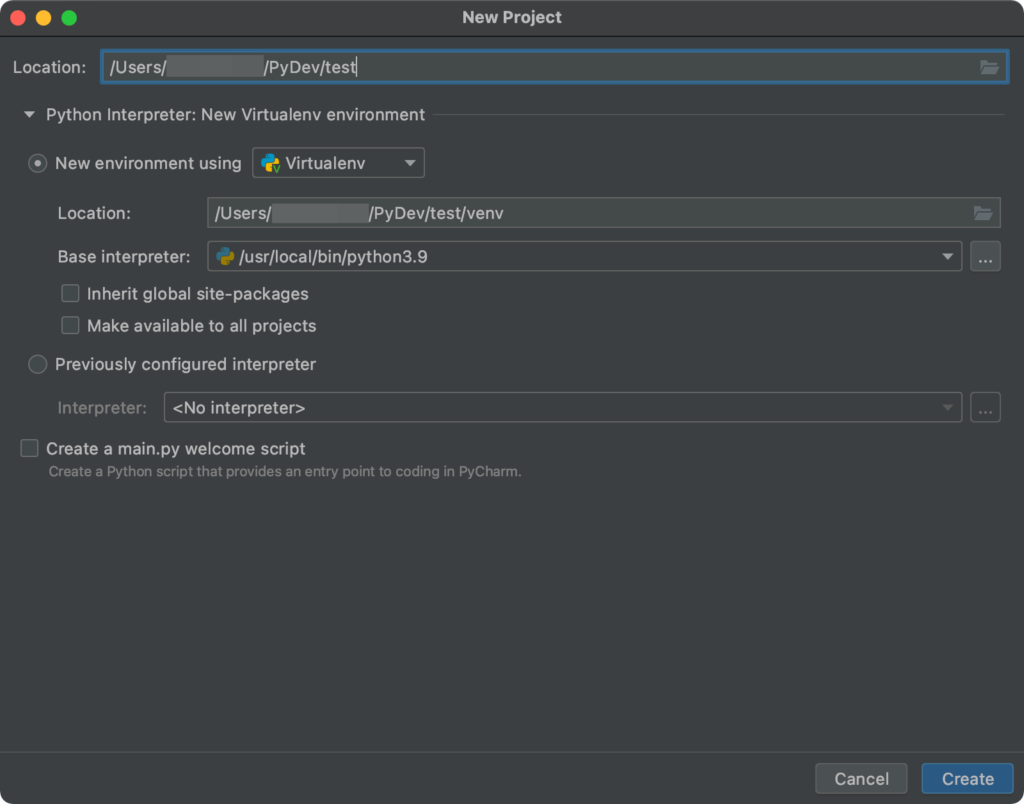 PyCharm New Project