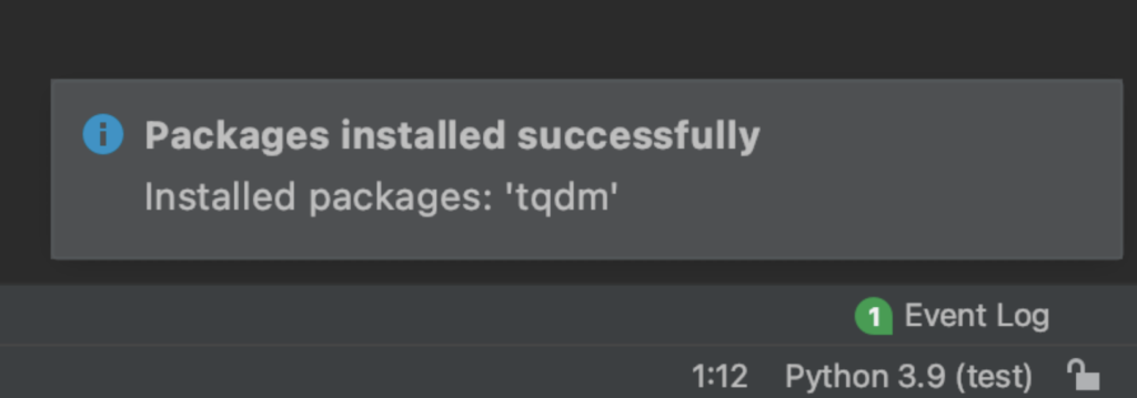 pycharm packages installed successfully