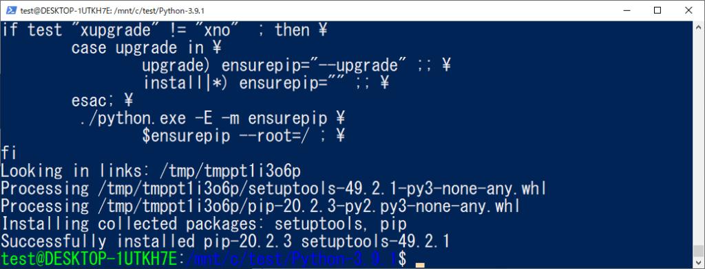 python3.9.1 install 完了