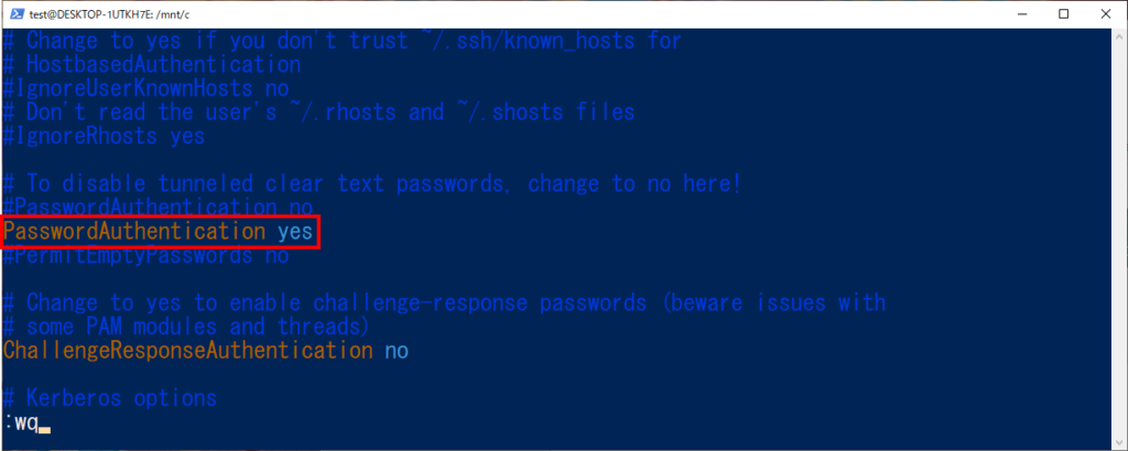 /etc/ssh/sshd_config パスワード認証 PasswordAuthentication yes