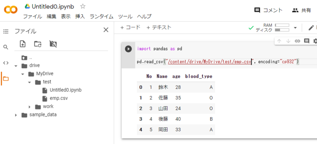 マウントしたGoogleドライブ上にあるCSVファイルをPandsに読み込み
