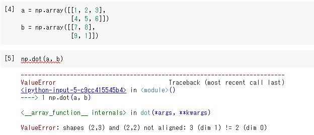 行列の積を計算できない場合の例  ValueError: shapes (2,3) and (2,2) not aligned: 3 (dim 1) != 2 (dim 0)